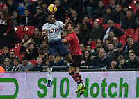 Football - 2018 / 2019 Premier League - Tottenham Hotspur vs. Southampton <br /> <br /> Danny Rose (Tottenham FC) beats Cedric Soares (Southampton FC ) to the high ball at Wembley Stadium.<br /> <br /> COLORSPORT/DANIEL BEARHAM