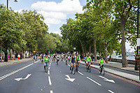 Riders along the Victoria Embankment. The Prudential RideLondon FreeCycle. Saturday 28th July 2018<br /> <br /> Photo: Ian Walton for Prudential RideLondon<br /> <br /> Prudential RideLondon is the world's greatest festival of cycling, involving 100,000+ cyclists - from Olympic champions to a free family fun ride - riding in events over closed roads in London and Surrey over the weekend of 28th and 29th July 2018<br /> <br /> See www.PrudentialRideLondon.co.uk for more.<br /> <br /> For further information: media@londonmarathonevents.co.uk