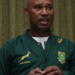 Rayaan Adriaanse (Media Manager) of South Africa during Team announcement media conference with Springbok coach, Allister Coetzee, and Mixed zone media interviews at the team hotel (Umfolozi Room 2) Durban,South Africa. 15th June 2017(Photo by Steve Haag)