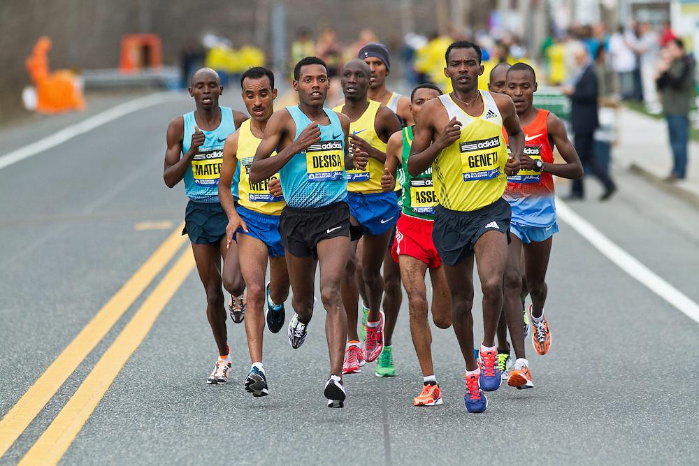 2013 Boston Marathon: lead group of elite men led by eventual winner Lilesa Desisa, Ethiopia.[Matebo, Merga, Desisa, Korir, Gebremariam, Assefa, Geneti, Kogo, Chumba]