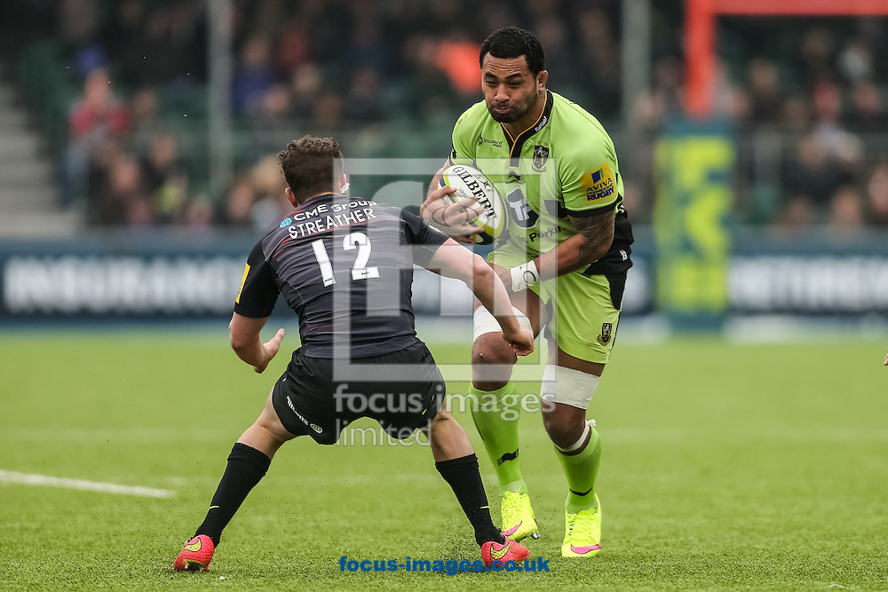 Samu Manoa of Northampton Saints (right) prepares to go through Tim Streather of Saracens (left) during the LV Cup semi final match at Allianz Park, London<br /> Picture by Andy Kearns/Focus Images Ltd 0781 864 4264<br /> 14/03/2015
