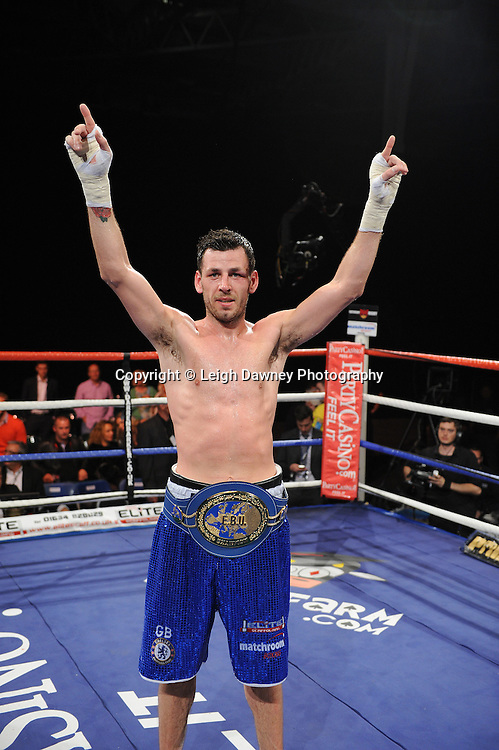 Darren Barker celebrates after defeating Domenico Spada at London's Olympia on Saturday 30th April 2011 for the European Middleweight Championship. Matchroom Sport. Photo credit © Leigh Dawney.