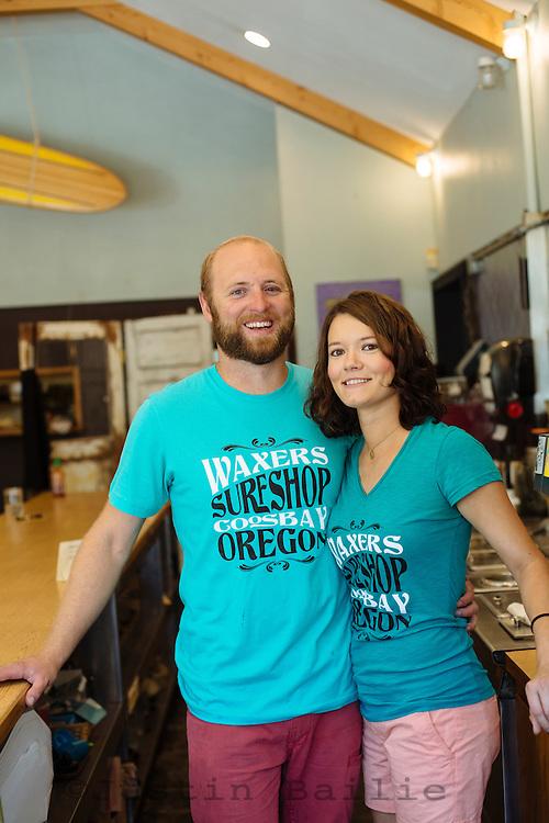 Owners Brian and Lia Menten of Shark Bites Restaurant. Coos Bay, Oregon.