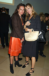 Left to right, RAE GIBSON and CARINA COOPER at a dinner hosted by Dom Perignon champagne to celebrate the launch of a new cook book held at the National Portrait Gallery, London on 15th September 2005.<br />