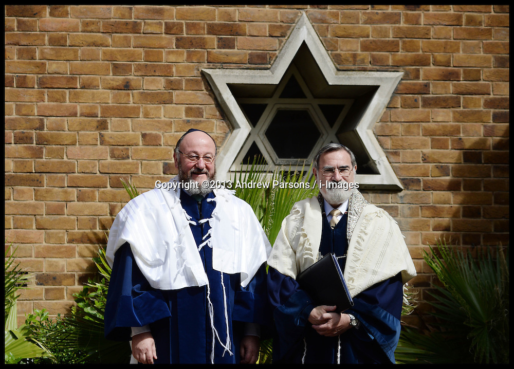 The New Chief UK Rabbi Ephraim Mirvis (left) at his Installation at St John's Wood Synagogue, and the Out going Chief Rabbi Lord Jonathan Sacks (right), who has held the post since 1991, London, United Kingdom. Sunday, 1st September 2013. Picture by Andrew Parsons / i-Images