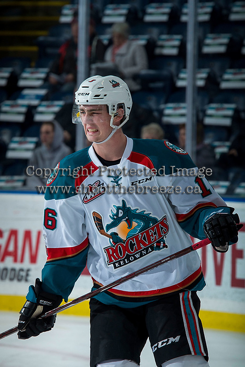 KELOWNA, CANADA - DECEMBER 27: Kole Lind #16 of the Kelowna Rockets reacts to contact with the puck during warm up against the Kamloops Blazers on December 27, 2017 at Prospera Place in Kelowna, British Columbia, Canada.  (Photo by Marissa Baecker/Shoot the Breeze)  *** Local Caption ***