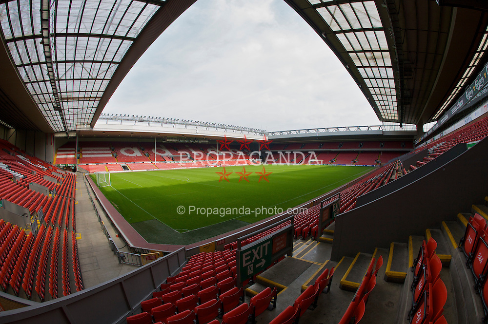 The view of the Anfield pitch from the Kemlyn Road Stand, centre of Block KP.