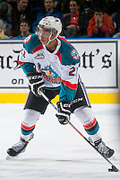 KELOWNA, CANADA - MARCH 11: Devante Stephens #21 of Kelowna Rockets skates against the Victoria Royals on March 11, 2015 at Prospera Place in Kelowna, British Columbia, Canada.  (Photo by Marissa Baecker/Shoot the Breeze)  *** Local Caption *** Devante Stephens'