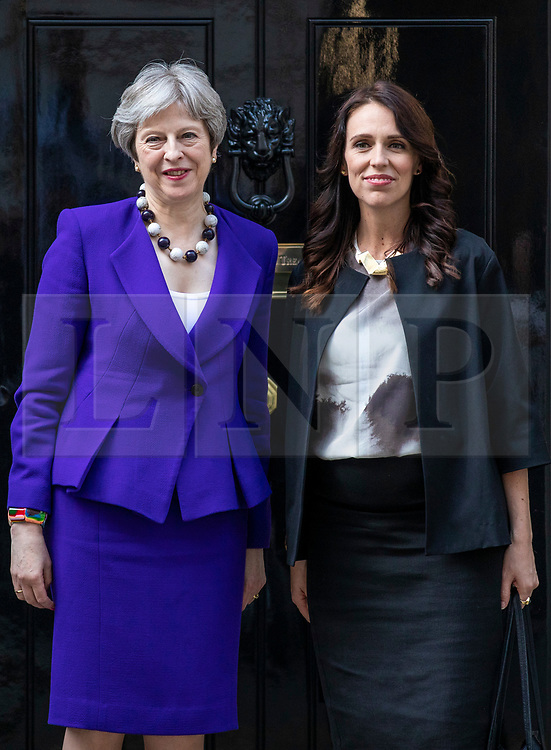 © Licensed to London News Pictures. 18/04/2018. London, UK. Prime Minister Theresa May (L) and Prime Minister of New Zealand Jacinda Ardern (R) outside 10 Downing Street. Photo credit: Rob Pinney/LNP
