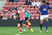 Jake Hesketh of Southampton U23's shoots at goal during the Under 23 Premier League 2 match between Southampton and Manchester United at St Mary's Stadium, Southampton, England on 22 August 2016. Photo by Phil Duncan.