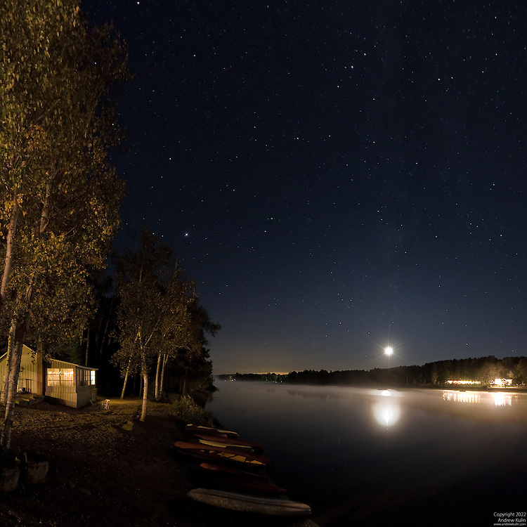 Oxtongue Lake on a late September evening with moon and Milky Way visible, photograph taken from the Algonquin Inn.5 - stitched shot (PTGUI).3520x3520 (original size)