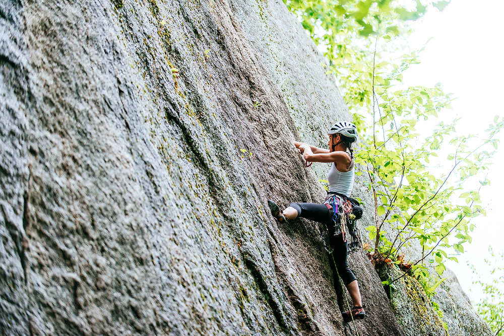 Alissa climbing they died laughing in North Conway NH