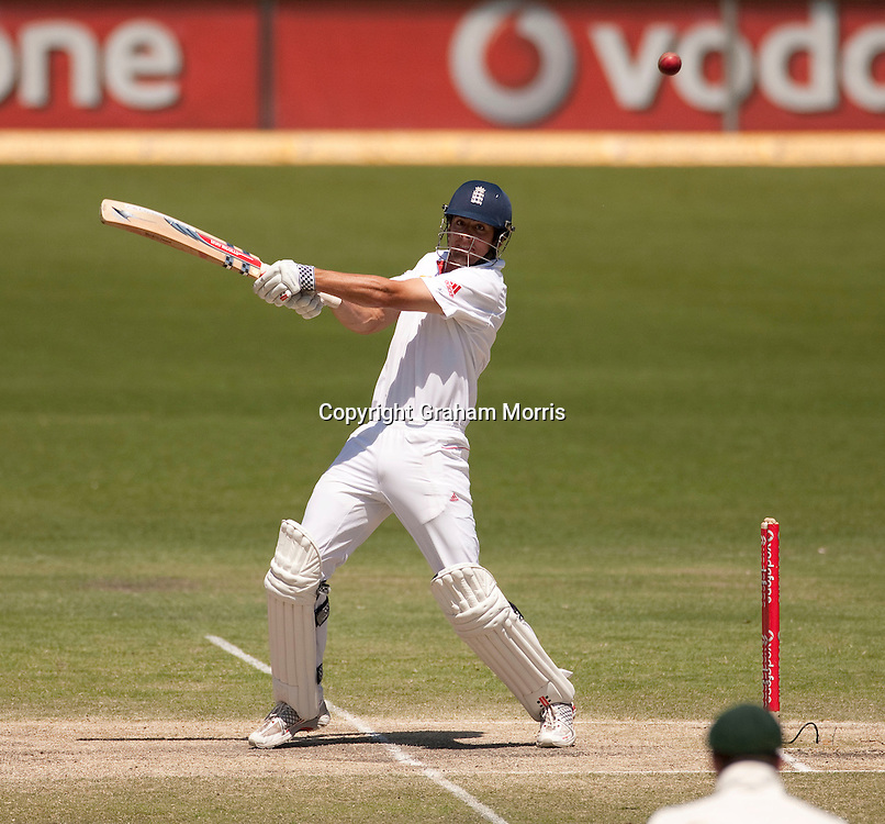 Alastair Cook bats during his 235 not out in the first Ashes Test Match between Australia and England at the Gabba, Brisbane. Photo: Graham Morris (Tel: +44(0)20 8969 4192 Email: sales@cricketpix.com) 29/11/10