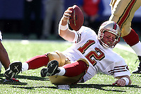 Oct 21, 2007: East Rutherford, NJ, USA: San Francisco 49ers quarterback (12) Trent Dilfer lays on the ground after being sacked by New York Giants defensive end (92) Michael Strahan during the first half at Giants Stadium. Giants won 33-15..