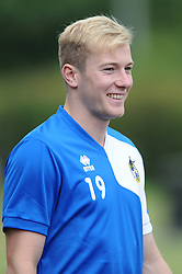 Bristol Rovers' Danny Greenslade smiles during pre-season training - Photo mandatory by-line: Dougie Allward/JMP - Mobile: 07966 386802 - 02/07/2015 - SPORT - Football - Bristol - Friends Life Training Ground - Bristol Rovers Pre-Season Training