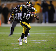 Santonio Holmes of the PIttsburgh Steelers during a 24-20 loss to Indianapolis on Sunday, Nov. 9, 2008 in Pittsburgh.