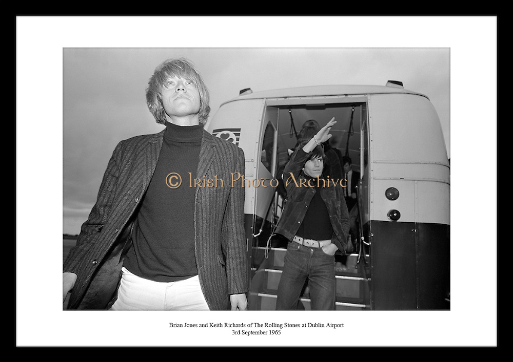 Fantastic shot of Brian Jones and Keith Richards getting off their plane at Dublin Airport by Lensmen Photographic Agency. Photos of the Rolling Stones are great gifts for birthdays and anniversaries.