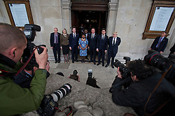 © London News Pictures. 22/04/2013. London, UK.  L to R - DAMIEN GREEN, THERESA MAY, NICK CLEGG, DOREEN LAWRENCE, STUART LAWRENCE, DAVID CAMERON, ED MILIBAND and BORIS JOHNSON pose for photographers outside St Martins in the Field Church in London following a memorial service to mark the 20 anniversary of the murder of Stephen Lawrence. Stephen Lawrence was murdered in a racist attack while waiting for a bus in SOuth London on the evening of 22 April 1993. Photo credit : Ben Cawthra/LNP