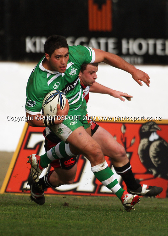 Francis Bryant crosses the tryline for Manawatu.<br /> Air NZ Cup rugby - Manawatu Turbos v Counties-Manukau Steelers at FMG Stadium, Palmerston North, New Zealand, Sunday, 2 August 2009. Photo: Dave Lintott/PHOTOSPORT