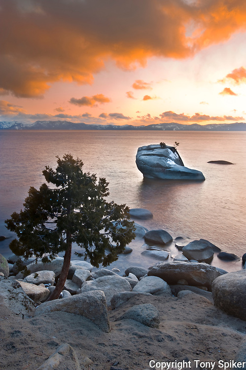 """Bonsai Rock Sunset 1"" - The sun sets over Bonsai Rock on Lake Tahoe's Eastern shore"