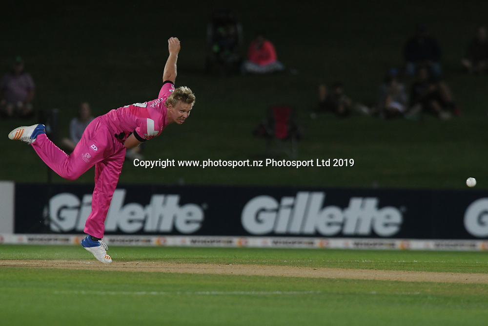 Northern Knights Scott Kuggeleijn bowls during the Burger King Super Smash T20 cricket match between the Central Stags and the Northern Knights, McLean Park, Napier, Friday, January 25, 2019. Copyright photo: Kerry Marshall / www.photosport.nz