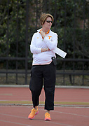 Mar 24, 2018; Los Angeles, CA, USA; Tennessee Volunteers coach Beth Alford-Sullivan during the Power 5 Trailblazer challenge at Cromwell Field.