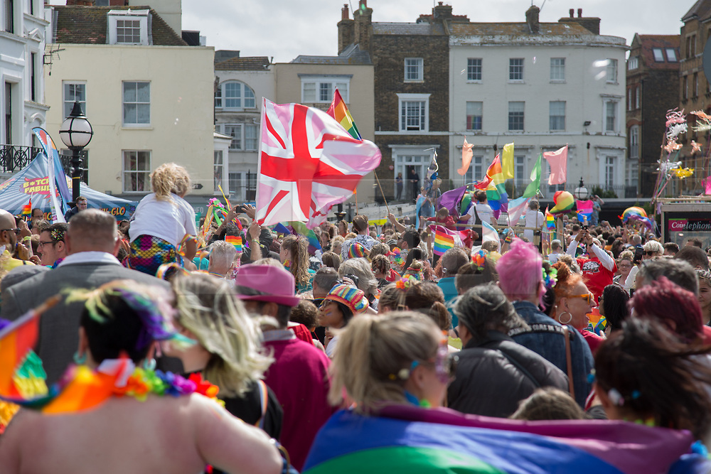 @Licensed to London News Pictures 10/08/2019. Margate, Kent. Member of the local community enjoying the culmination of Margate Pride week today during the Margate Pride Day rally. Photo credit: Manu Palomeque/LNP