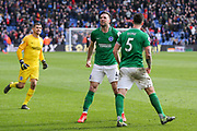Brighton and Hove Albion defender Shane Duffy (4) celebrates after the final whistle with Brighton and Hove Albion defender Lewis Dunk (5) during the Premier League match between Crystal Palace and Brighton and Hove Albion at Selhurst Park, London, England on 9 March 2019.