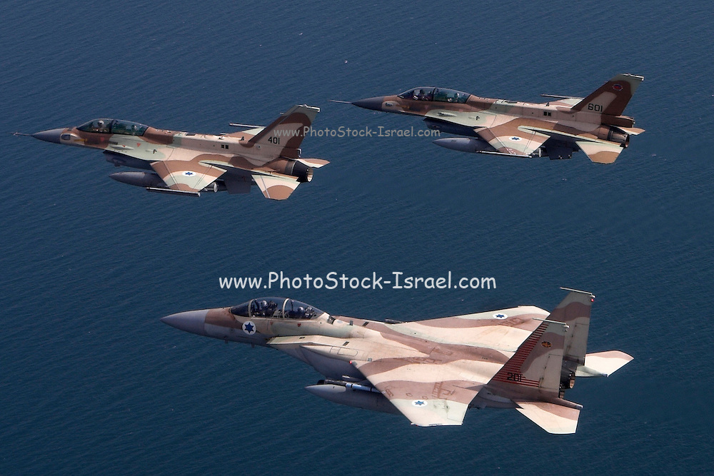 A formation of 2 F16 and one F15 Israeli Air Force fighter jets flying over the Mediterranean Sea