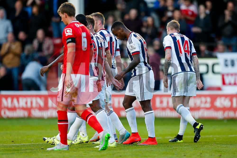 Saido Berahino of West Brom looks down after scoring a goal - Mandatory byline: Rogan Thomson/JMP - 07966 386802 - 28/07/2015 - SPORT - Football - Walsall, England - Besot Stadium - Walsall v West Bromwich Albion - 2015/16 Pre Season Friendly.