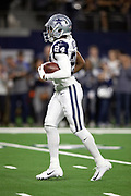 Dallas Cowboys cornerback Chidobe Awuzie (24) runs with the ball during pregame warmups before the NFL week 13 regular season football game against the New Orleans Saints on Thursday, Nov. 29, 2018 in Arlington, Tex. The Cowboys won the game 13-10. (©Paul Anthony Spinelli)