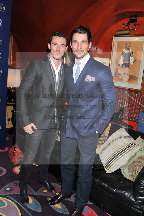 Left to right, LUKE EVANS and DAVID GANDY at the Johnnie Walker Blue Label and David Gandy partnership launch party held at Annabel's, 44 Berkeley Square, London on 5th February 2013.