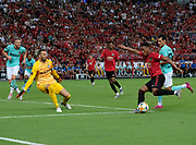 Manchester United Anthony Martial takes a shot during an International Champions Cup game won by Manchester United 1-0, Saturday, July 20, 2019, in Singapore. (Kim Teo/Image of Sport)