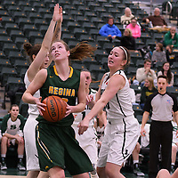 3rd year forward Christina McCusker (12) of the Regina Cougars in action during the home game on December  3 at Centre for Kinesiology, Health and Sport. Credit: Matt Johnson/Arthur Images
