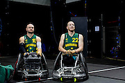 UNITED KINGDOM, London: 2015 World Wheelchair Rugby Challenge. Caption: Australian players Chris Bond (left) and Matt Lewis (right) watch a game from afar. Rick Findler / Story Picture Agency