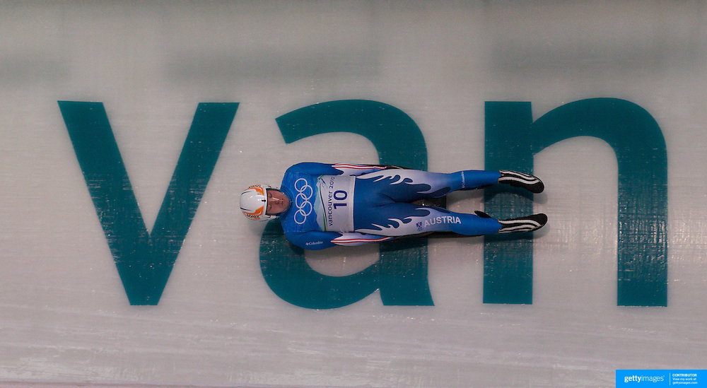 Winter Olympics, Vancouver, 2010.Manuel Pfister, Austria, in action during the Luge Men's Singles training run at The Whistler Sliding Centre, Whistler, during the Vancouver  Winter Olympics. 10th February 2010. Photo Tim Clayton