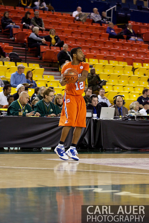 November 25th, 2010:  Anchorage, Alaska - Houston Baptist guard Michael Moss (12) receives the inbound pass in the Huskies loss to the Arizona State Sun Devils 55-73 in the first round of the Great Alaska Shootout.