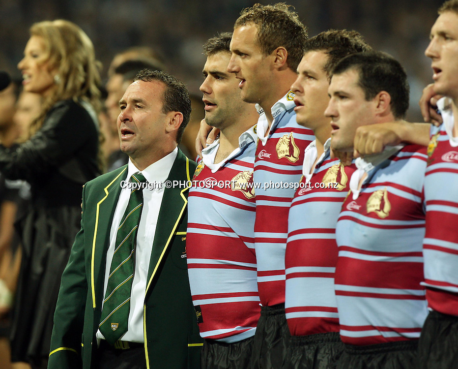 Australia coach Ricky Stuart and the team stand in line for the national anthem. Rugby League, International Centenary Test, Australia v New Zealand, SCG, Sydney, Australia, Friday 9 May 2008. Photo: Paul Seiser/PHOTOSPORT