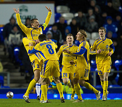 LIVERPOOL, ENGLAND - Thursday, December 17, 2009: FC BATE Borisov's Aliaksandr Yurevich celebrates with team-mates after scoring the opening goal against Everton during the UEFA Europa League Group I match at Goodison Park. (Pic by David Rawcliffe/Propaganda)