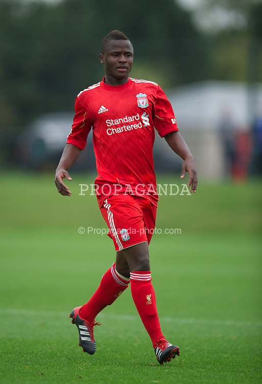 LIVERPOOL, ENGLAND - Friday, October 14, 2011: Liverpool's Yalany Baio in action against Manchester United during the FA Premier League Academy match at the Kirkby Academy. (Pic by David Rawcliffe/Propaganda)