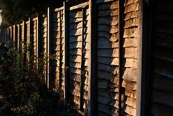 UK ENGLAND NORFOLK HINDOLVESTON 13MAR04 - Wooden partition in a driveway in a village near Hindolveston, rural Norfolk, England.