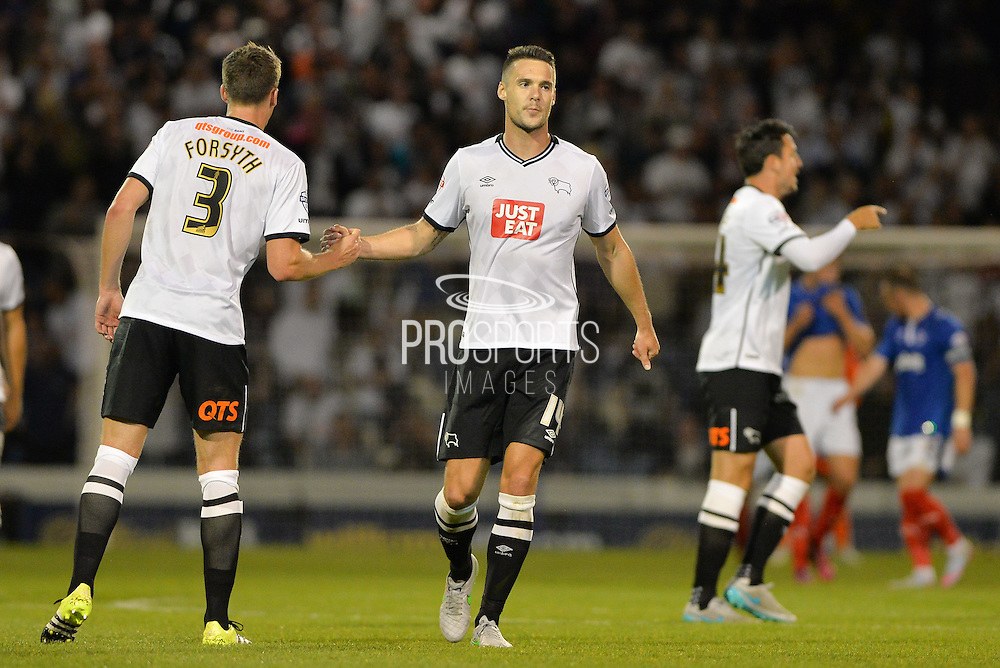 Jason Shackell celebrates scoring for derby during the Capital One Cup match between Portsmouth and Derby County at Fratton Park, Portsmouth, England on 12 August 2015. Photo by Adam Rivers.