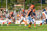 KELOWNA, BC - AUGUST 3:  Kelton Kouri #38 runs to receive the hand off of the ball from quarterback Alex Douglas #1 of Okanagan Sun during the first quarter against the Kamloops Broncos at the Apple Bowl on August 3, 2019 in Kelowna, Canada. (Photo by Marissa Baecker/Shoot the Breeze)