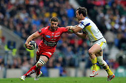 Sebastien Tillous-Borde of Toulon fends Morgan Parra of Clermont Auvergne - Photo mandatory by-line: Patrick Khachfe/JMP - Mobile: 07966 386802 02/05/2015 - SPORT - RUGBY UNION - London - Twickenham Stadium - ASM Clermont Auvergne v RC Toulon - European Rugby Champions Cup Final