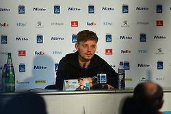 November 19, 2017 - London, England, United Kingdom - David Goffin of Belgium holds a press conference after the Nitto ATP World Tour Finals at the O2 Arena, London on November 19, 2017. (Credit Image: © Alberto Pezzali/NurPhoto via ZUMA Press)