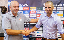 Slobodan Grubor, head coach of Aluminij and Dejan Grabić, head coach of Bravo during press conference after the football match between NK Bravo and NK Aluminij in 5th Round of Prva liga Telekom Slovenije 2019/20, on August 9, 2019 in Sports park ZAK, Ljubljana, Slovenia. Photo by Vid Ponikvar / Sportida
