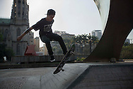 Sao Paulo, Brazil, September 18 of 2012:   Luan , pro skate ridder, at Praca da Se, downtown Sao Paulo. (Photo: Caio Guatelli)