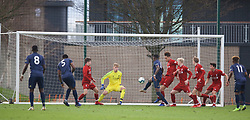KIRKBY, ENGLAND - Saturday, January 26, 2019: Manchester United's Di'Shon Bernard scores the second goal to equalise the score at 2-2 during the FA Premier League match between Liverpool FC and Manchester United FC at The Academy. Manchester United won 3-2 after extra time. (Pic by David Rawcliffe/Propaganda)