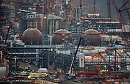 """Detail of Shell's sprawling plastics plant , also known as an """"ethane cracker,"""" under construction in Beaver County, Pennsylvania, part of  the growing petrochemcial industry in the United States. The  expanding shale gas industry has been building demand for fossil fuels from its fracked oil and gas wells by promoting turning its products into plastics and petrochemicals."""