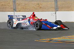 September 14, 2018 - Sonoma, CA, U.S. - SONOMA, CA - SEPTEMBER 14: Matheus Leist goes hard on the brakes as he misses his turning mark during the Verizon IndyCar Series practice for the Grand Prix of Sonoma on September 14, 2018, at Sonoma Raceway in Sonoma, CA. (Photo by Larry Placido/Icon Sportswire) (Credit Image: © Larry Placido/Icon SMI via ZUMA Press)
